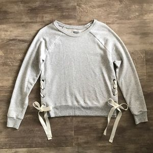 Aerie XS Gray Ribbon Side Tie Pullover Sweater